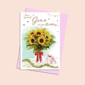 Gran Birthday Card Featuring A Large Bunch Of Yellow Sunflowers