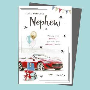 Nephew Birthday Card Featuring A Red Sports Car With Balloons Attached