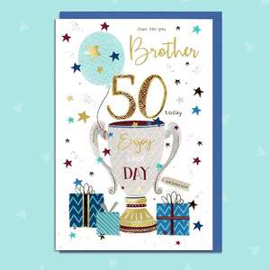 Brother Age 50 Birthday Card Featuring A Trophy And Presents