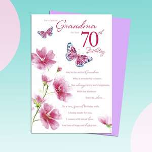 Grandma On Your 70th Birthday Card Featuring Flowers And Butterflies