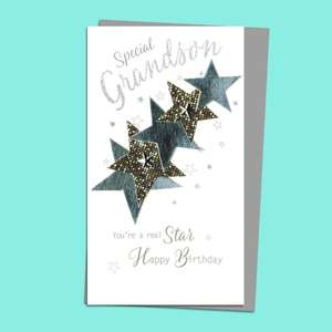 Grandson Stars Birthday Card Alongside Its Silver Envelope