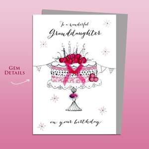 Granddaughter Birthday Cake Birthday Card Alongside Its Silver Envelope