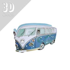 Campervan Birthday 3D Card Alongside Its Silver Envelope
