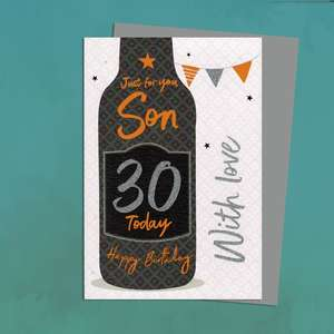 Son 30 Today Birthday Card Alongside Its Silver Envelope