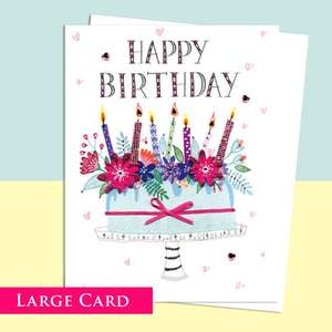 Birthday Cake Birthday Card With Decoupage Attachments