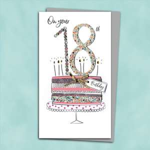 18th Birthday Cake Birthday Card Alongside Its Silver Envelope