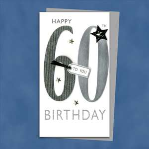 Happy 60th Birthday Card Alongside Its Silver Envelope