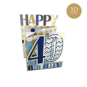Age 40 Male Birthday Card Alongside Its Blue Envelope