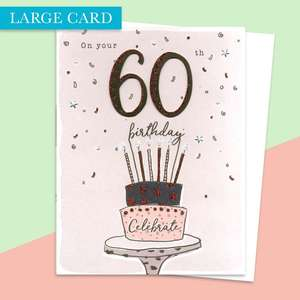 Age 60 Birthday Large Card Alongside Its White Envelope