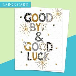 Good Bye & Good Luck Large Card Alongside Its White Envelope
