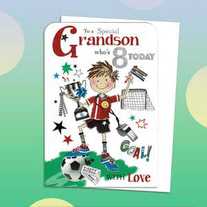 Grandson Age 8 Birthday Card Sat On A Wooden Display Shelf