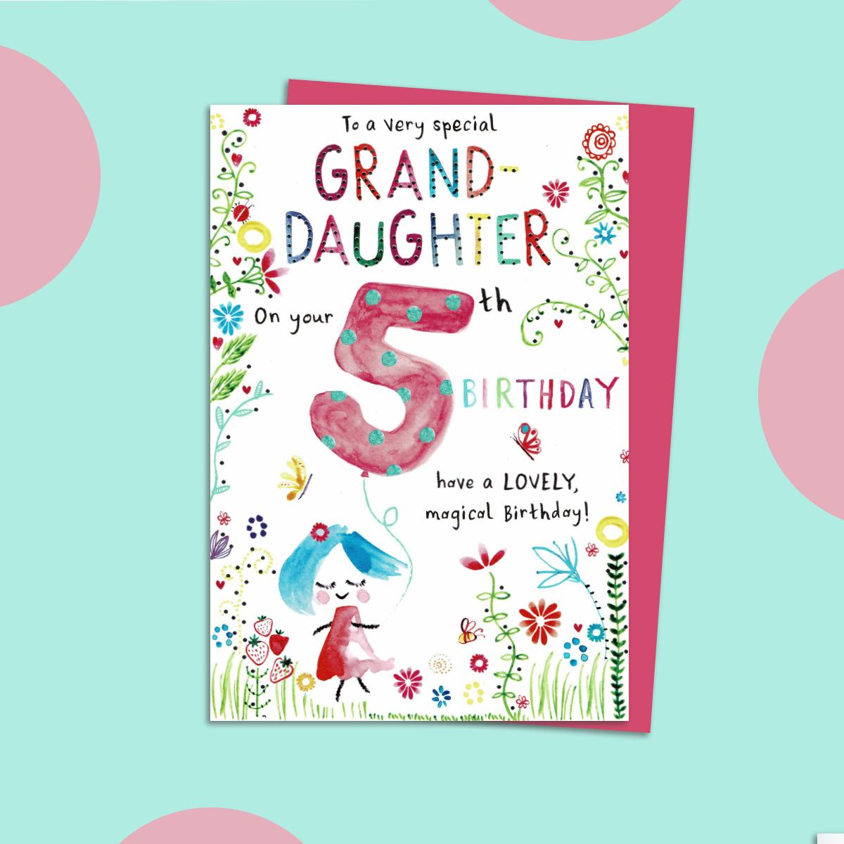Special Granddaughter Age 5 Birthday Card Sitting On A Display Shelf