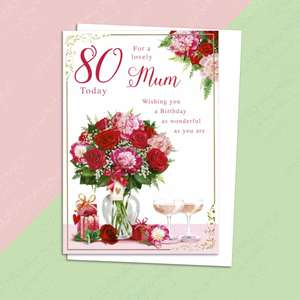 Mum 80th Birthday Card Alongside Its White Envelope