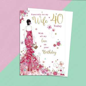 Wife Age 40 Birthday Card Alongside Its White Envelope