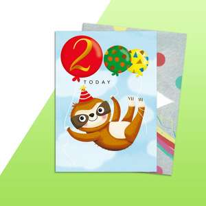 Age 2 Boys Birthday Card Alongside Its Rainbow Envelope