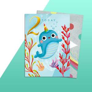 Age 2 Narwhal Themed Birthday Card Alongside Its Rainbow Envelope