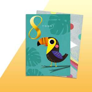 Age 8 Toucan Themed Birthday Card Alongside Its Rainbow Envelope