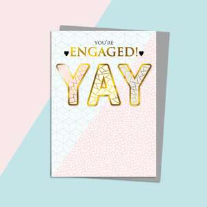 YAY Engagement Card Alongside Its Silver Envelope