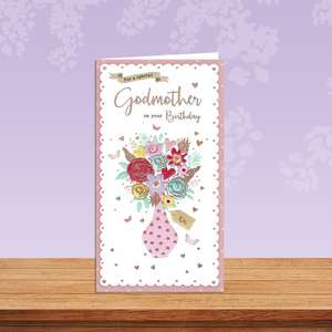 Godmother Balloons Card Sitting On A Display Shelf