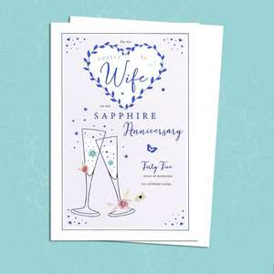 Wife Sapphire Anniversary Card Alongside Its Pearl Ivory Envelope