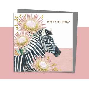 Zebra Themed Birthday Card Alongside Its Dark Grey Envelope