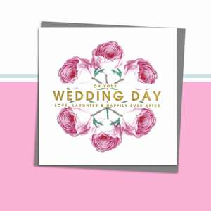 Wedding Day Greeting Card Alongside Its Dark Grey Envelope