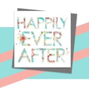 Happily Ever After Greeting Card Alongside Its Dark Grey Envelope