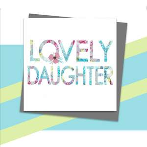 Lovely Daughter Greeting Card Alongside Its Dark Grey Envelope