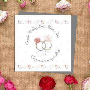 Mrs And Mrs Wedding Day Card Alongside Its Ivory Envelope