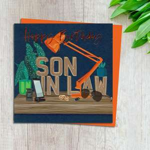 Son In Law Birthday Card design Complete With Neon Orange Envelope