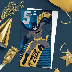 Batman Age 5 Superhero Birthday Card Alongside Its White Envelope