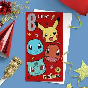 Pokémon Age 8 Birthday Card Alongside  Its White Envelope