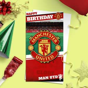 Manchester United Football Greeting Card Alongside Its White Envelope
