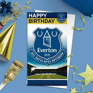 Everton Football Club Birthday Card Alongside Its White Envelope