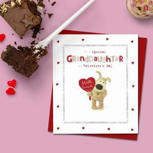 Special Granddaughter Valentine's Day Card Alongside Its Red Envelope
