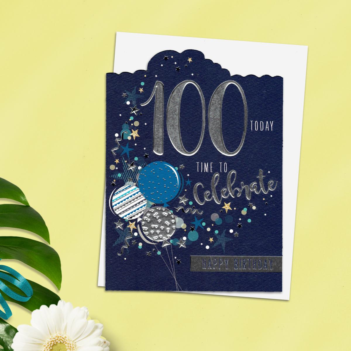 100th Time To Celebrate Birthday Design Alongside Its White Envelope