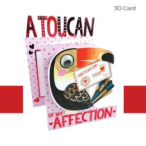 Toucan Themed 3 Fold Valentines Day Card Displayed Open