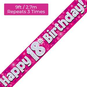 Age 18 Pink And Silver Birthday Banner Displayed