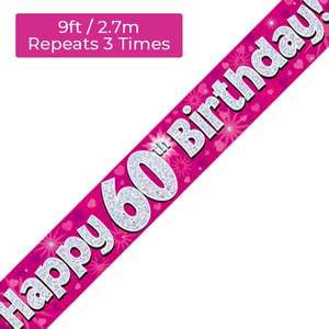 Age 60 Pink And Silver Holographic Birthday Banner Displayed