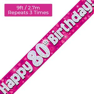 Age 80 Pink And Silver Birthday Banner Displayed
