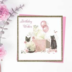Birthday Wishes Card showing 3 Cats with balloons and flowers. With added sparkle and Cerise envelope