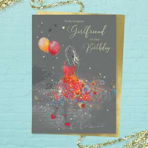 Girlfriend Birthday Design Alongside Its Gold Coloured Envelope