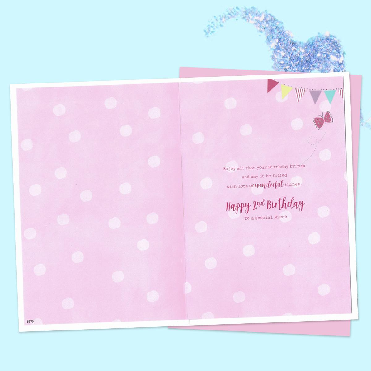 Niece Age 2 Birthday Card Alongside Its Pink Envelope