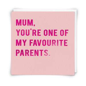 Mum Funny Greeting Card Alongside Its White Envelope