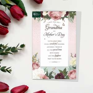 RHS ' Just for You Grandma On Mother's Day' Card Featuring Beautiful Roses And added Sparkle. Complete With Grey Envelope With floral detail