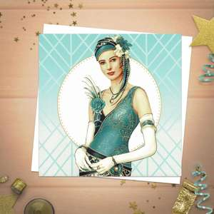 A Stunning Blank Card From the Debbie Moore 'Art Deco' Range Featuring A Lady Dressed In 1920 Style In Aqua And Teal colours. Complete With White Envelope