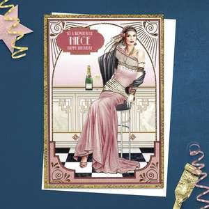 ' To A Wonderful Niece' Birthday Card From The Art Deco Range By Debbie Moore. Beautiful Elegant Lady Dressed In Pink 1920's Style With Champagne! Complete With Gold Foiling And White Envelope
