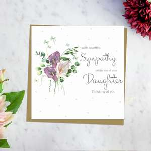 ' With Heartfelt Sympathy On The Loss Of Your Daughter Thinking Of You' Card Featuring Beautiful Pink And Purple Calla Lilies. With discreet Sparkle And Brown Envelope. Blank Inside For Own Message