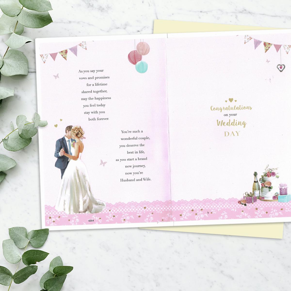 Image Of Inside Of Wedding Card To Show Layout