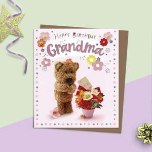 Grandma Barley Bear Birthday Card Alongside Its Kraft Envelope